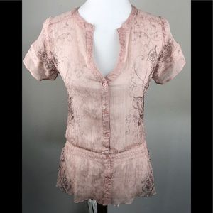 FANG Button Down Pink BOHO Blouse V Neck Smocked